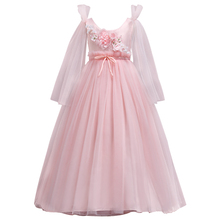 Teenager Wedding Flower Girls Princess Tulle Dress Kids Girls Elegant Princess Pageant Party Dress beauty Tulle Floor long Dress