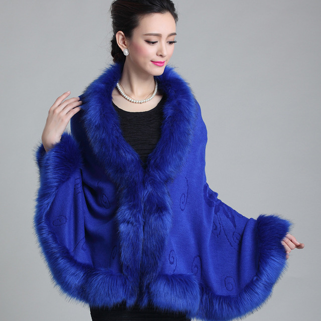 Women Soft Cashmere Faux Fox Fur Pashmina Shawl Autumn Winter Knitted Wool Poncho Coat Sweater Many Colors Black White Blue Red