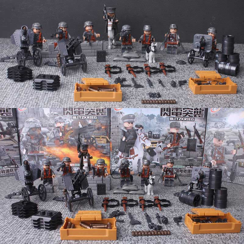 Oenux WW2 German Blitzkrieg Assault Figures Building Block Classic Military War Scene Model Brick DIY Toys For Kids Gifts цена