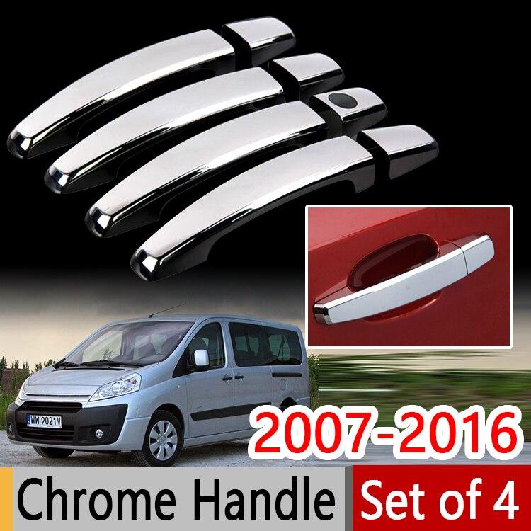 Prix pour Chrome Poignée Couvre L'équilibre Set pour Peugeot Expert Citroen Jumpy Envoi Fiat Scudo Toyota ProAce 2007 + Accessoires Car Styling