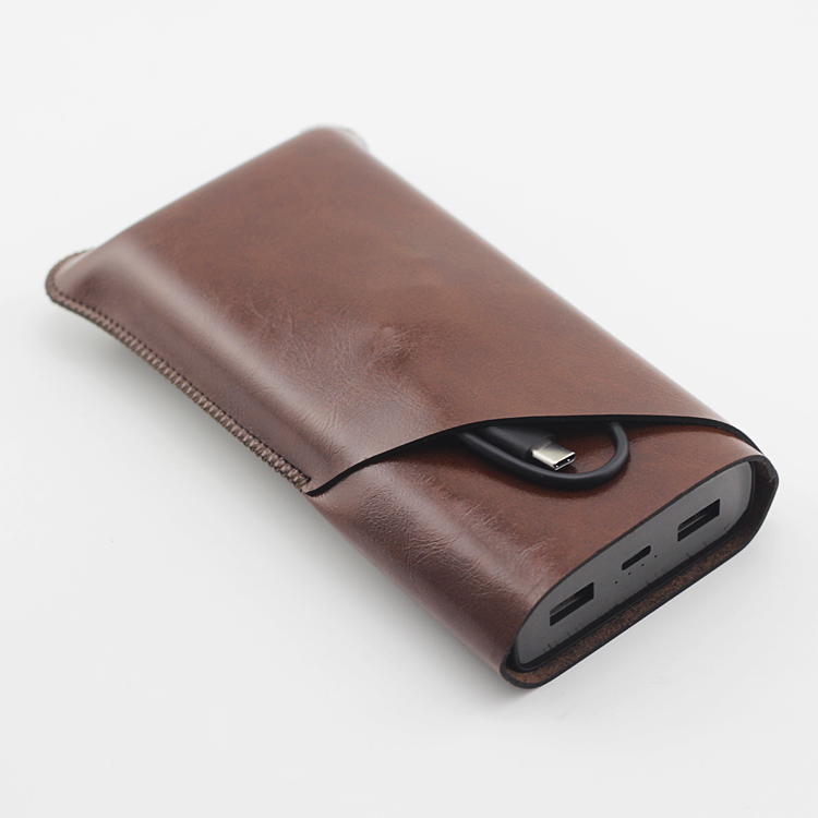 Bank3 Double Layer Universal Fillet Holster Phone Straight Leather Case Retro Simple Style For Xiaomi MI Power Bank 3 Pouch Case