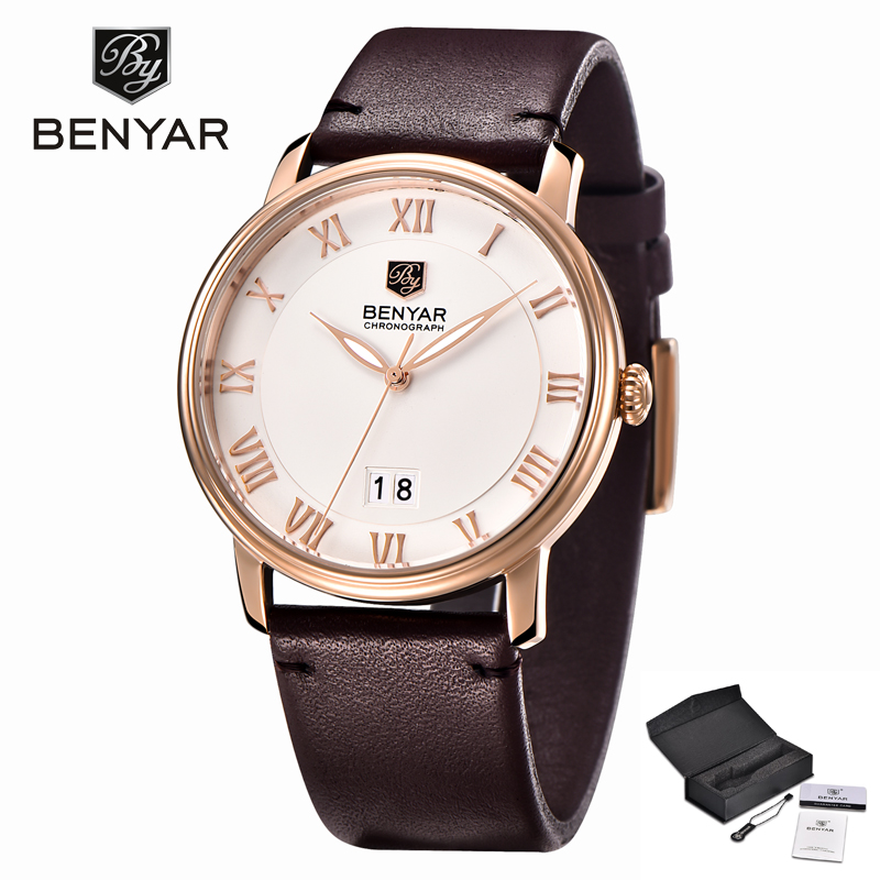 Leather Strap Quartz Waterproof Male Clock Roman Scale