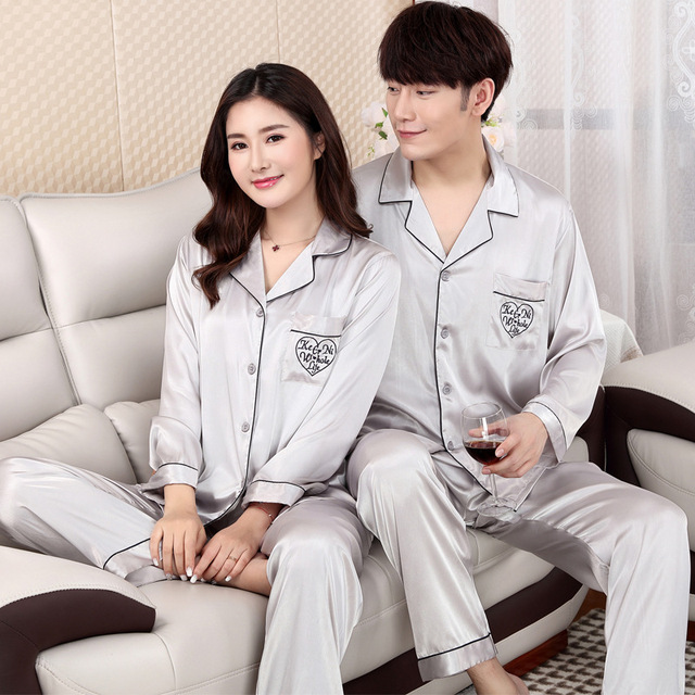Plus Size 3XL Lovers Pajamas Set Spring New Home Clothes Long Sleeve Satin Nightwear Suit Casual Shirt&Pants 2PCS Sleepwear