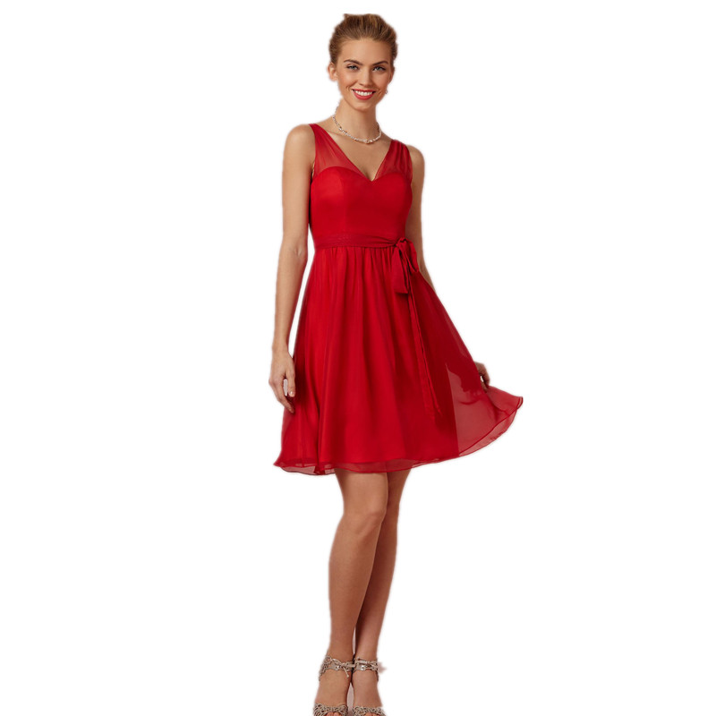 Popular Red Short Bridesmaid Dresses-Buy Cheap Red Short ...