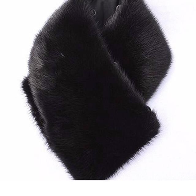 Men 62 cm Square Collar Real Mink fur Collar muffler scarf black full pelt  wool turn-down collar
