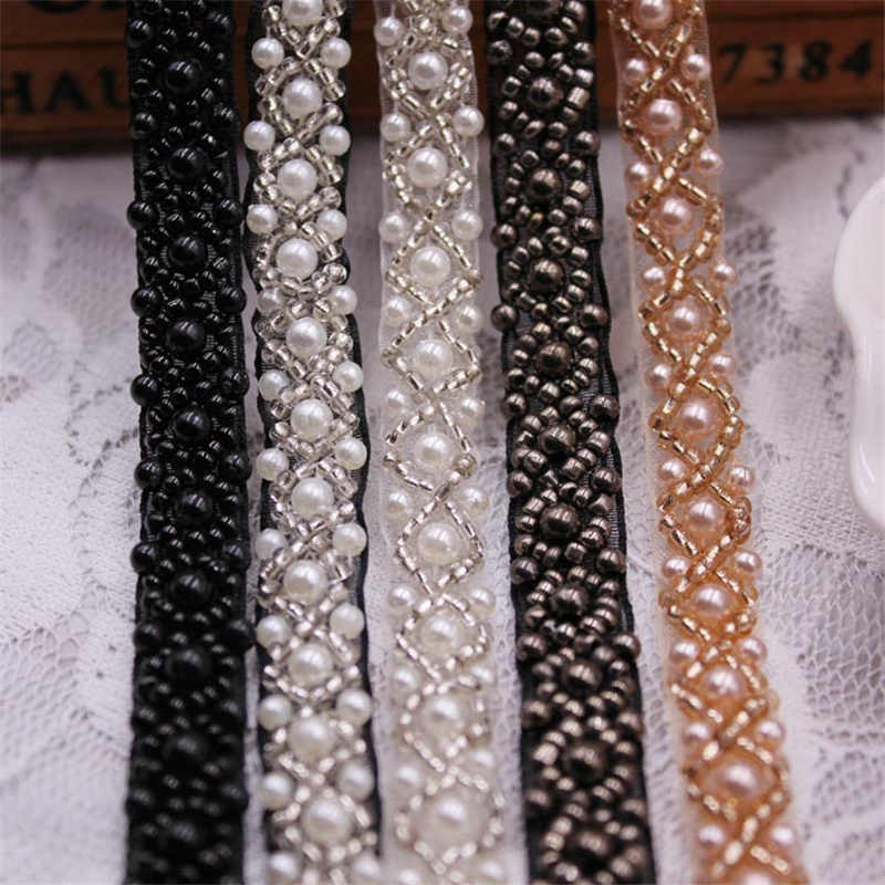 1 Yards/Lot Pearl Seed Bead Beaded Trims Lace Ribbon Clothes Decoration Wedding Dress Collar Sleeve African Lace Fabric Applique