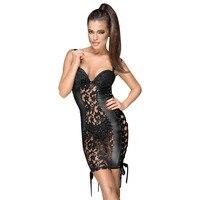 Plus Size S XXL Women Sexy Mini Dress Black Spaghetti Straps See Through Lace Bodycon Dress Faux Leather Short Dress