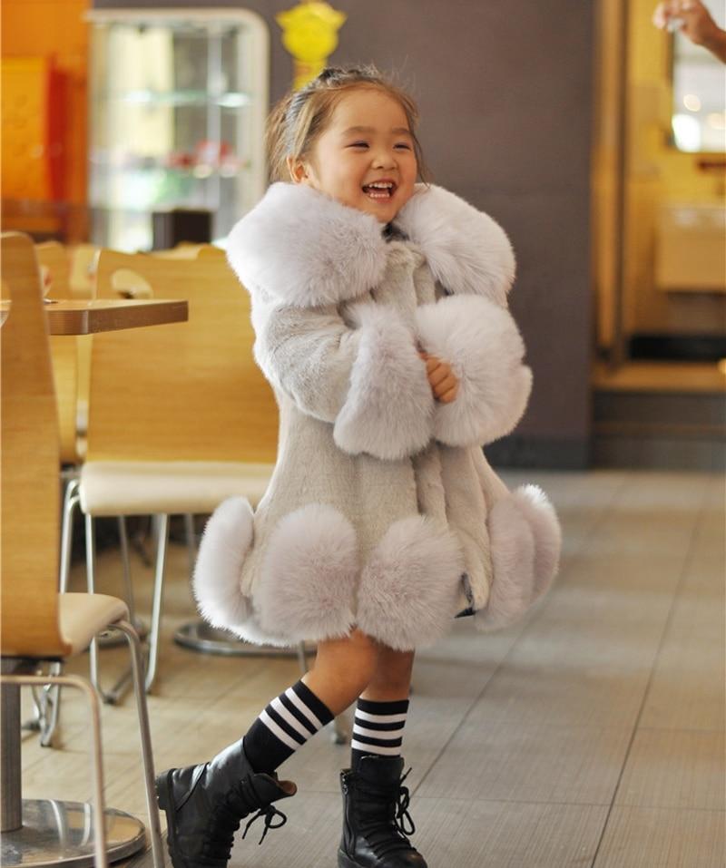 New 2018 Baby Girls Long Sleeve Winter Wedding Faux Fur -7491