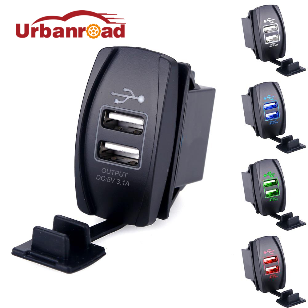 Universal Ganda USB Charger Mobil Power Adapter 12-24 V 3.1A Ganda USB Socket Charger Untuk iPhone 5 6 6S Ipad Samsung Tablet