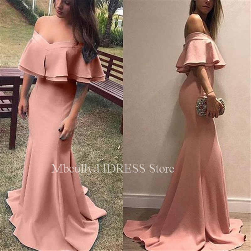 2019 Pink   Prom     Dresses   With Sexy V Neck Satin Cheap Under 100 Evening   Dress   Party For Women Long Sweep Train vestidos de fiesta