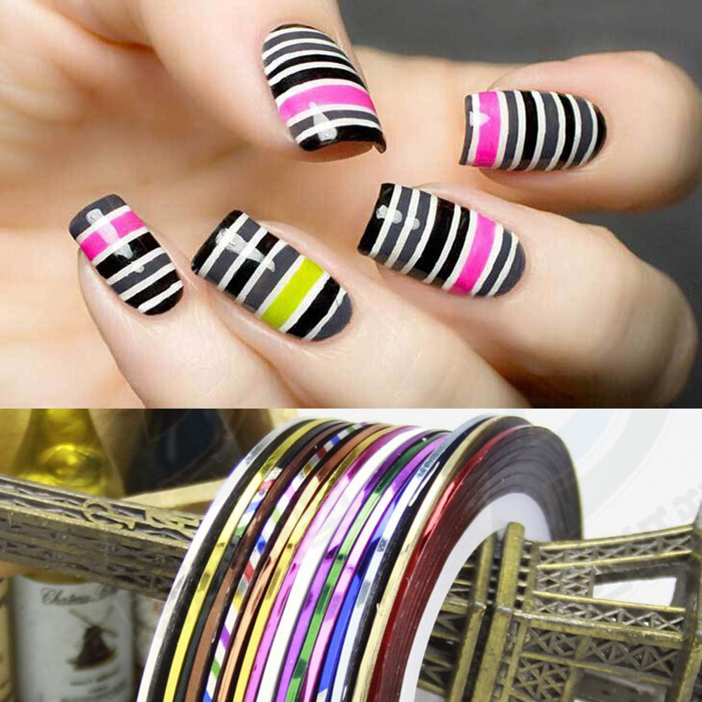 Striping Tape Line Nail Art: 1Roll 12 Colors 3D Nail Waves Striping Tape Line For Nail