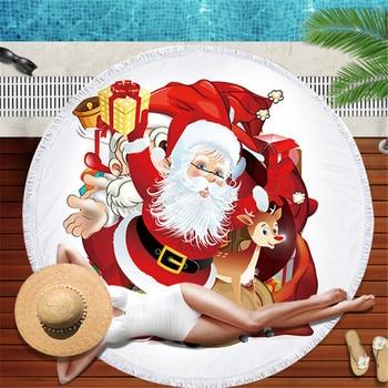 Summer Round Beach Towel Microfiber Large Bath Towel for Adults Kid Christmas snowmen Printed Toalla Tassel Tapestry