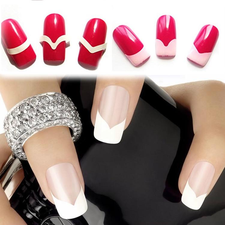 New Fashion 48PCS/Lot Nail Sticker DIY French Manicure Nail Art Decorations Round Form Fringe Guides Nail Sticker 2