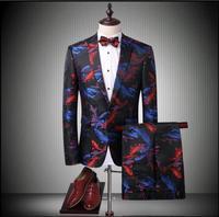 2017 New Men's Flower suit set slim hairstylist suit carousingly twinset Carp pattern suit Groom wedding dress singer costumes