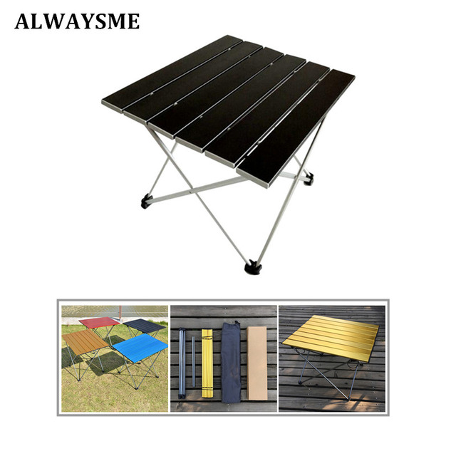 ALWAYSME 57x40x41CM Colorful Aluminium Alloy Outdoor Folding Table Hiking Camping Table Waterproof Folding Table Desk For Picnic