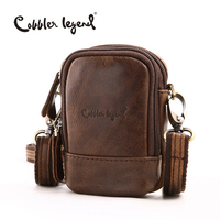 Cobbler Legend 2016 New Genuine Leather Mini Men Bag Small Waist Packs For Men Multi Function