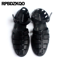 Shoes Luxury Large Size Strap Men Gladiator Sandals Summer Black Leather High Quality Closed Toe Roman 45 2018 Runway Japanese