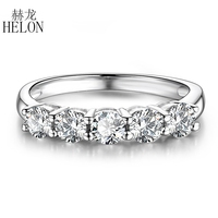 HELON Solid 14K White Gold Moissanite Ring 2.1CT VVS/GH Test Positive Moissanite Diamond Engagement Ring Women Wedding Jewelry