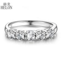 HELON Solid 14K White Gold Moissanite Ring 2.1CT VVS/GH Test Positive Moissanite Diamond Engagement Ring Women Wedding Jewelry