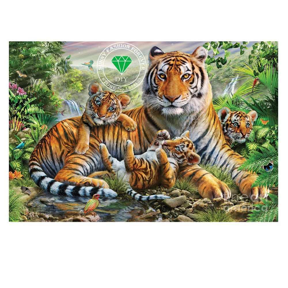 Modo caldo 3D diamante DIY ricamo tigre e cubs regalo ricamo filati panno trapano a punto croce immagine di strass artigianato