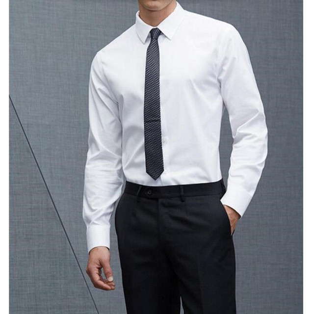 New chemise homme formal business formal men long sleeve for Perfect white dress shirt