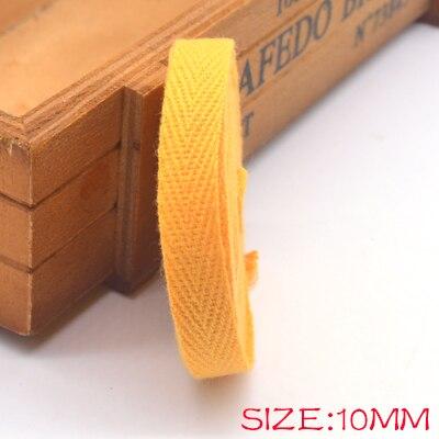 Новые цветные 10 мм шеврон хлопок ленты тесьма сельдь bonebinding ленты кружева обрезки для упаковки аксессуары DIY - Цвет: yellow 603
