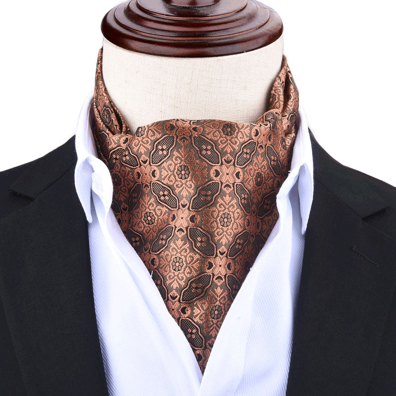 Men Vintage Polka Dot Wedding Formal Cravat Ascot Scrunch Self British Style Gentleman Polyester Neck Tie Luxury