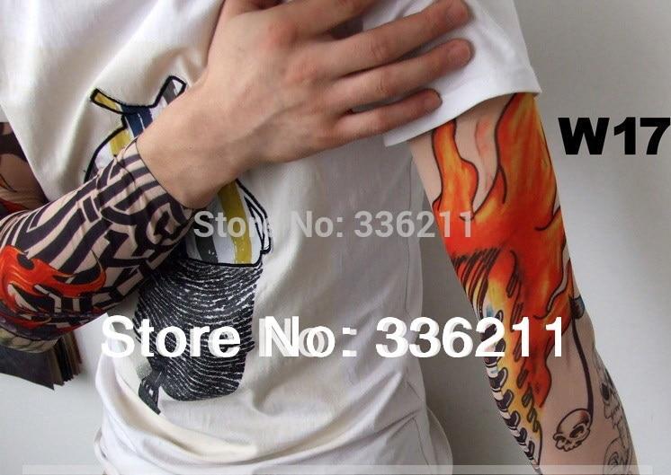 100pcs Free shipping elastic 100 nylon Fake temporary tattoo sleeve pattern body Arm stockings tatoo men