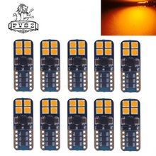 10Pcs T10 W5W led 194 3030 8SMD CANBUS 4W lighting Yellow Light Indicator Lamps Reading lamp License plate light 12V-24V(10 PCS) [vk]german rafi 8mm square indicator lamp voltage 24v power 0 4w 1 65 120 011 0000 light button switch indicator light