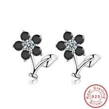 Black Awn романтический цветок 925 пробы серебряные ювелирные изделия обручальные серьги-гвоздики для женщин черные и белые серьги TT033