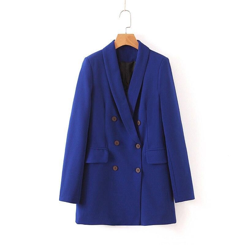 Women Blue  Double Breasted Long Blazer