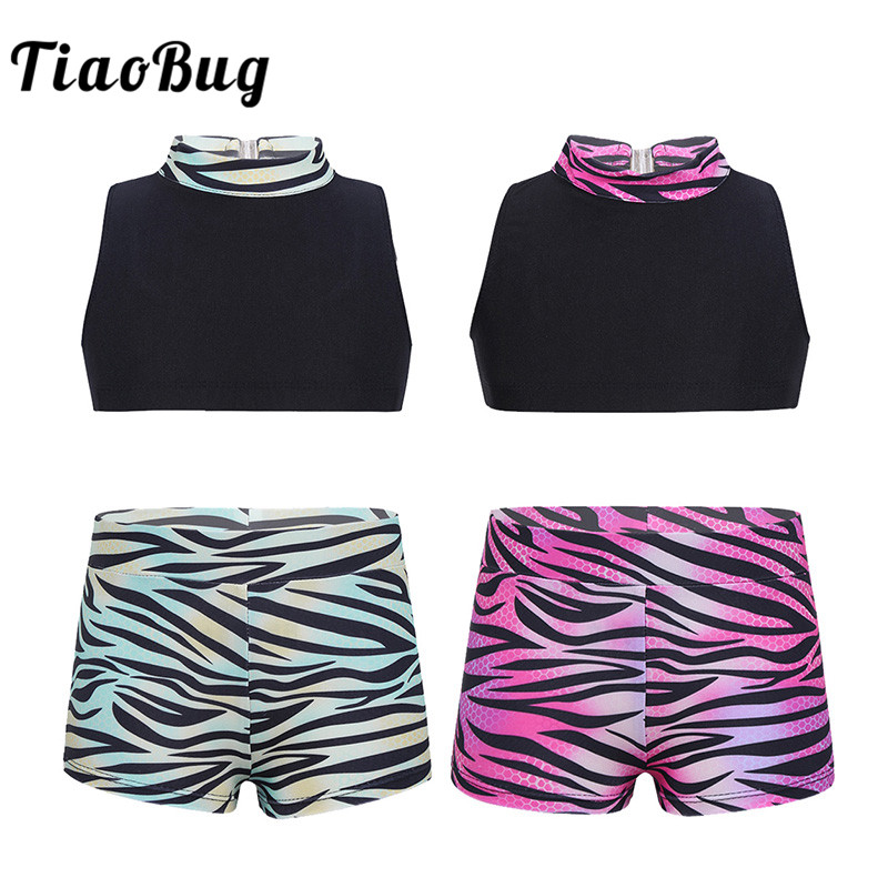 <font><b>TiaoBug</b></font> Kids Teens Sleeveless Ballet Dance Crop Top with Zebra Striped Shorts Set Girls Gymnastics Workout Ballerina Dance Wear image