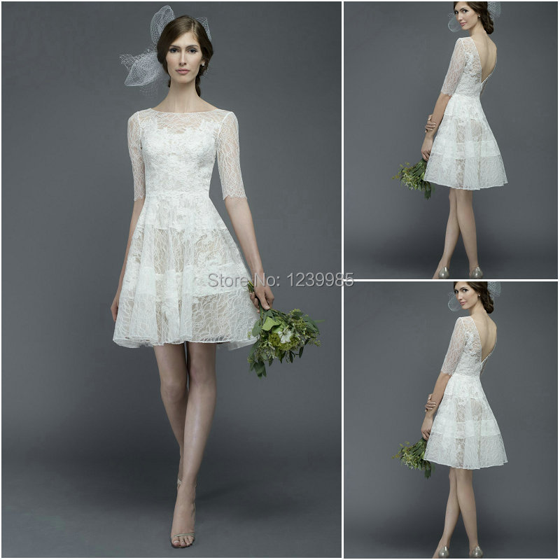 Y White Mini Wedding Dresses