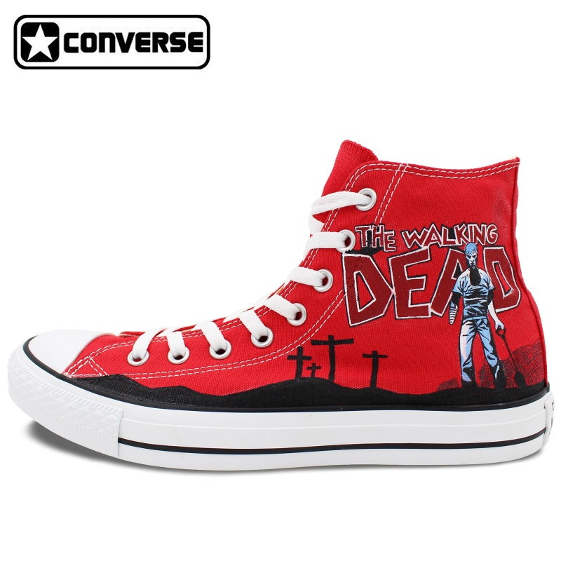 Hand Painted font b Shoes b font Women Men Red Converse All Star Walking Dead Zombies