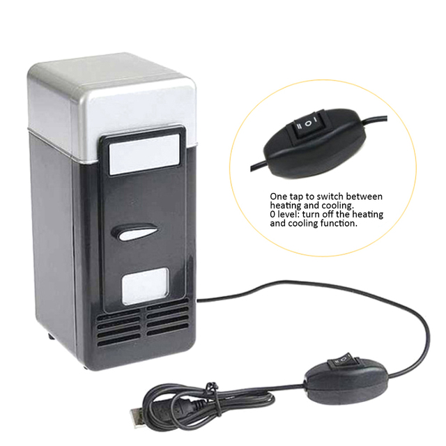 Desktop Mini Fridge USB Gadget Beverage Cans Cooler Warmer Refrigerator With Internal LED Light Car Use Mini Fridge 1