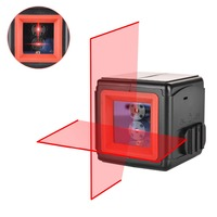 HANMER LV2 2 Lines Laser Level Red Cross Lines Self leveling Horizontal and Vertical Cross Line Mini Size 1m Shatter proof IP54