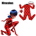 2017 Kids Zip The Miraculous Ladybug Cosplay Costume Girls Ladybug Marinette Child Lady Bug Spandex Full Lycra Zentai Suit