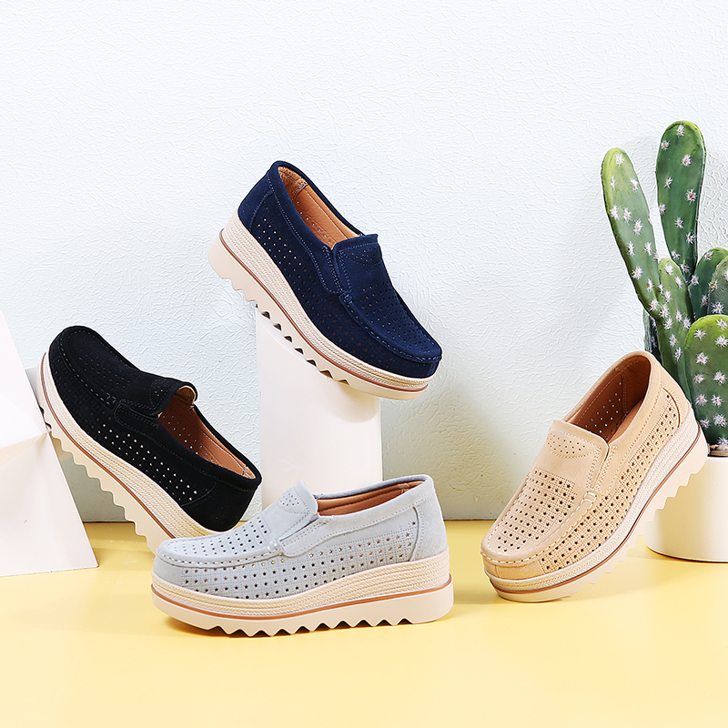 2019 Spring Loafers Shoes for Women   Leather     Suede   Slip on Sneakers Chaussure Femme Sapato Feminino Platform Shoes Woman 3088