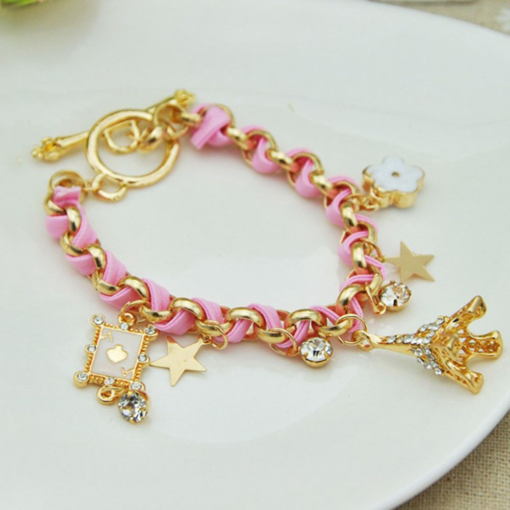 Vienkim New Hot sell  Fashion Jewelry Multielement Gold Chain Leather Rope Crystal Handmade Bracelet Eiffel Tower Star Pendant 7