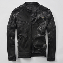 Male genuine leather sheepskin clothing short design real le