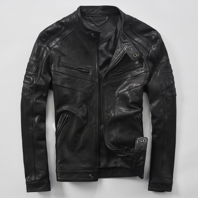 Masculino couro genuíno projeto curto roupas de pele de carneiro jaquetas de couro real primavera e no outono moda casaco de couro da motocicleta