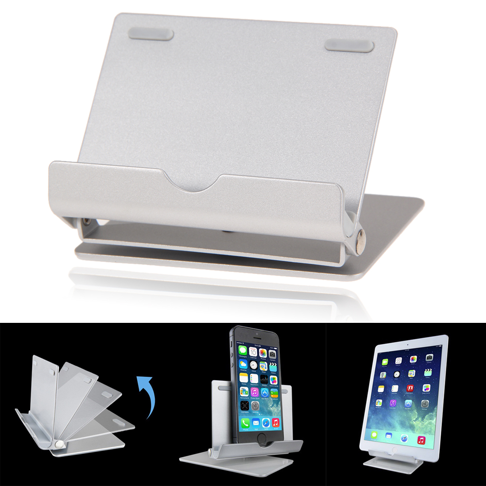 Universal Aluminium Metal Portable Fold-up Desk Stand Cradle Adjustable Multi-angle Holder For iPad Tablet Cellphone