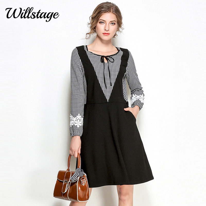 Willstage 5XL Plus size Dress Women Long Sleeve Patchwork Plaid Lace  Oversize Pregnant Dresses Big 2018 Spring Clothing Vestidos fb2c54d8c8e9