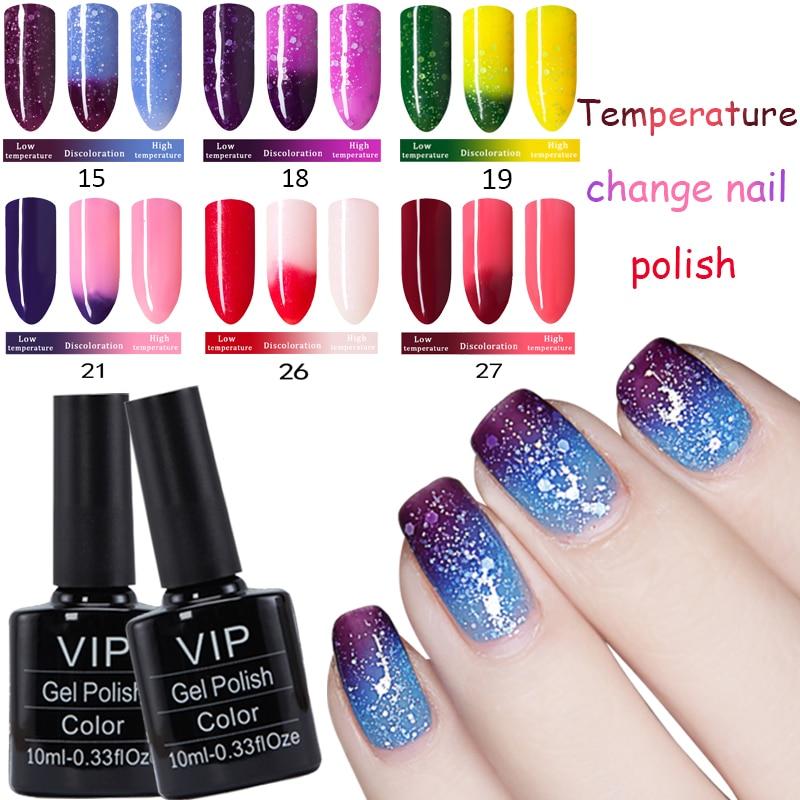 MDSKL Gel Esmalte de uñas Camaleón Cambio de temperatura Color Gel Laca Larga duración UV Gel Cambio de temperatura de uñas Color 10ML