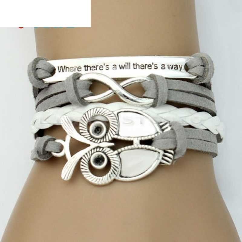 OTOKY Hot Sale 2018 1pc Women Trendy Infinity Owl Friendship Antique Leather Cute Charm Bracelet For Gift   Mar21