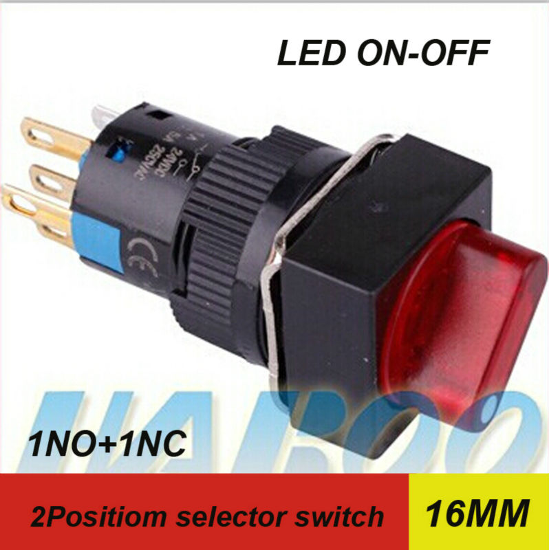 1PCS packing dia.16mm led selector switch HABOO 2position selector rotary switch with led lights 1NO+1NC ...
