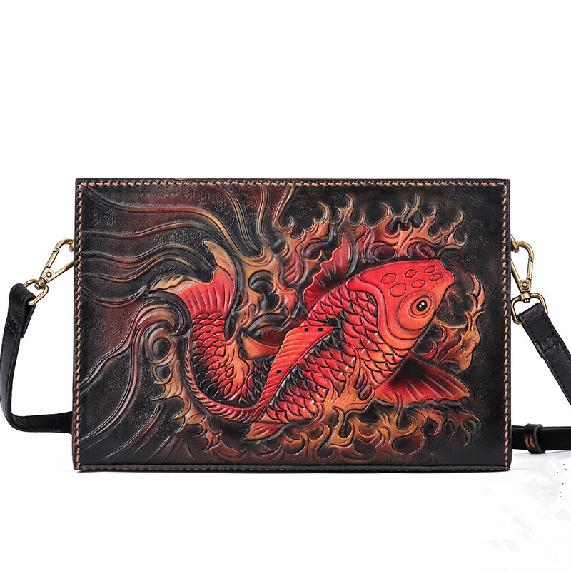Men/'s Leather Bifold ID Card Holder Pocket Purse Carp Fish Koi Wallet Clutch