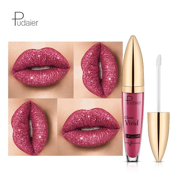 Pudaier 2019 brillo labios líquido pintalabios mujeres maquillaje azul púrpura vino rojo mate a brillo labial brillo
