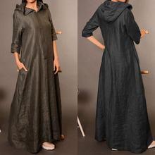 Long-Dress Kaftan Maxi Vestido Elegant Autumn Vintage OL Zanzea Women Ladies Solid Zipper-Work