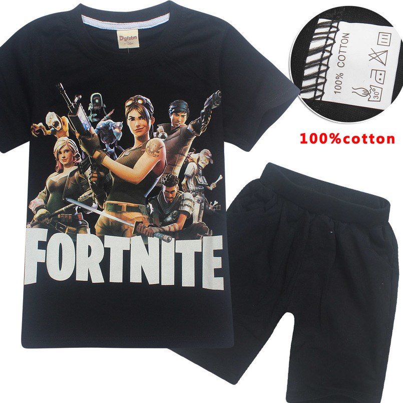 Boys & Girls Summer Clothing 100% Cotton T-Shirt + Shorts Set Games Fortnite Cosy blouse Role Play Kids Short Sleeve